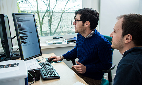 Employee and consultant analysing a computer screen in an office