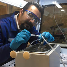Male researcher working in Geotechnics lab