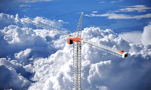 Crane surrounded by clouds
