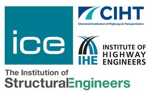 Logos for four civil and structural engineering organisations