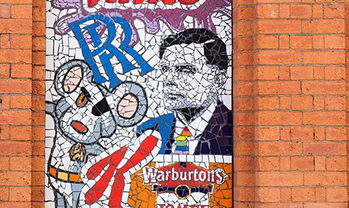 A mosaic including a portrait of Alan Turing